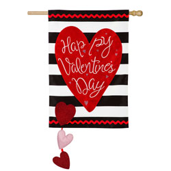 Valentines Stripes House Flag, EE159019H