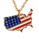 Gold USA Charm Necklace, 7HUSAG