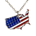 Silver USA Charm Necklace, 7HUSAS