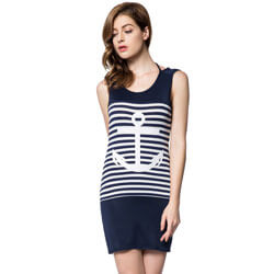 Anchor Print Dress, ALIXANCDRESSBL