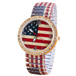Crystal Accents American Flag Watch, ALIXFLAGWATCH