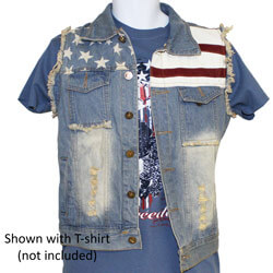 American Flag Patchwork Denim Vest, FBPP0000013564