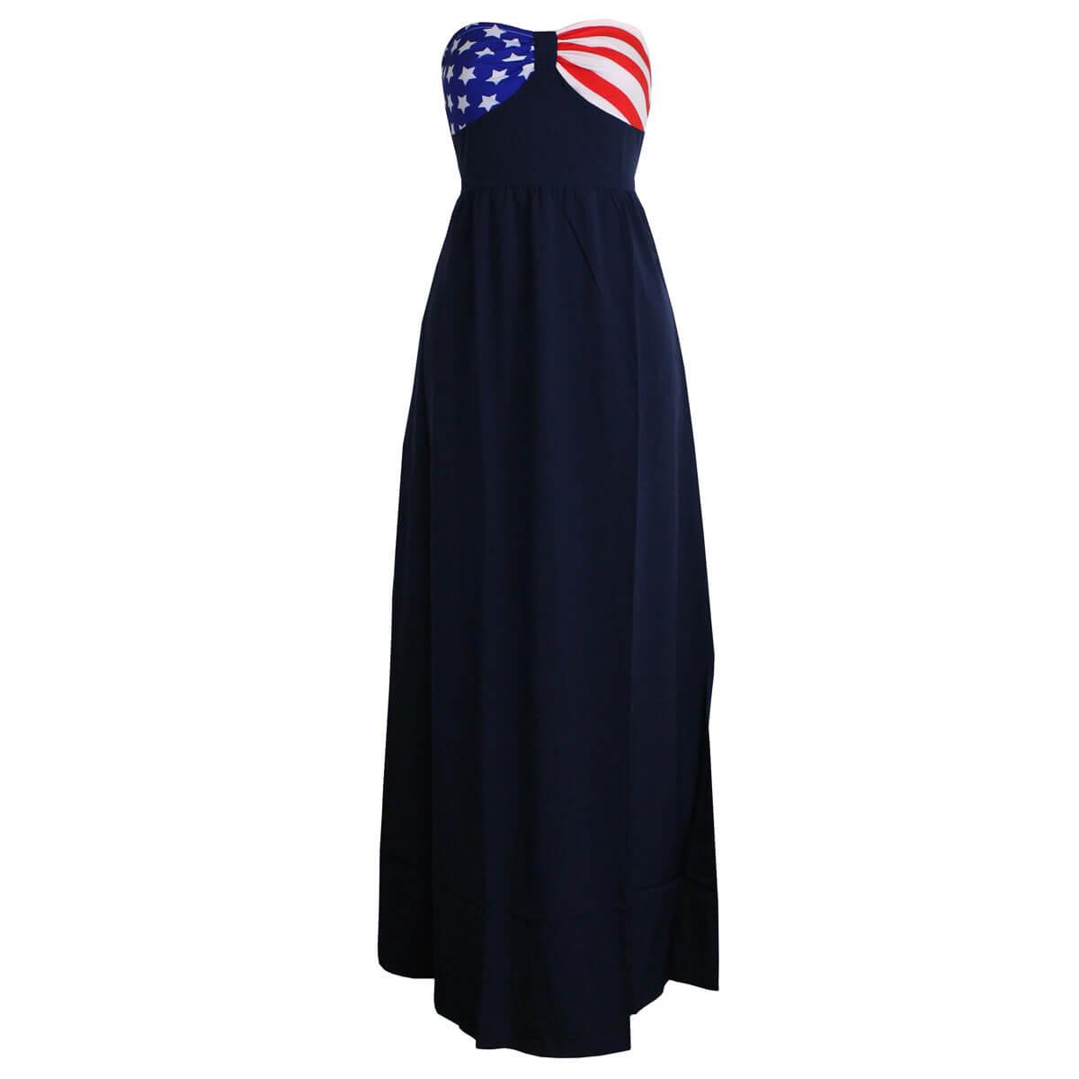 c0d0ed54036 Patriotic Strapless Maxi Dress (Small)