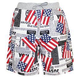 American Flag Newspaper Boys Shorts, ALIXSHORTFLAG
