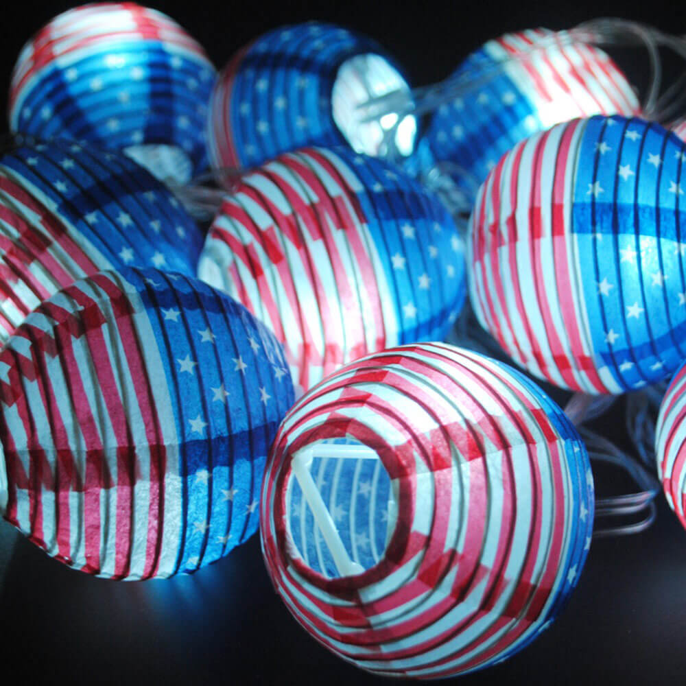 Patriotic Paper Lanterns String Lights