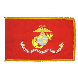 Marine Corps Fringed Flag with Pole Hem, AMARI35PHF