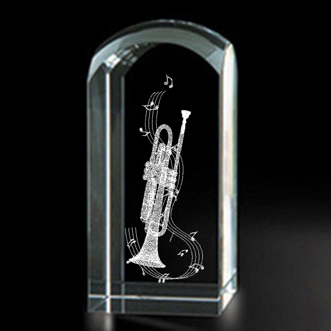 Trumpet 3d Laser Etched Crystal