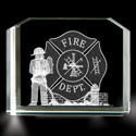 Fireman and Fire Department 3D Laser Etched Crystal, BIT34263836