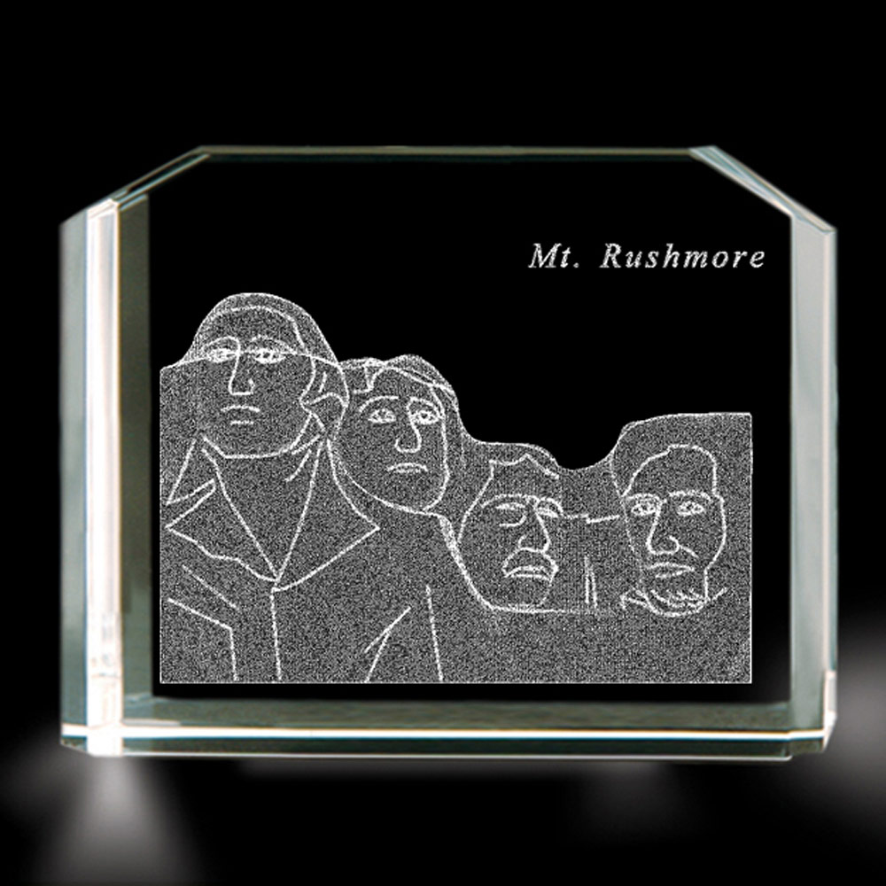 Mount Rushmore 3d Laser Etched Crystal