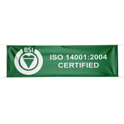 BSI ISO 14001:2004 Certified Banner - Double Sided, BSIISO1400439HD