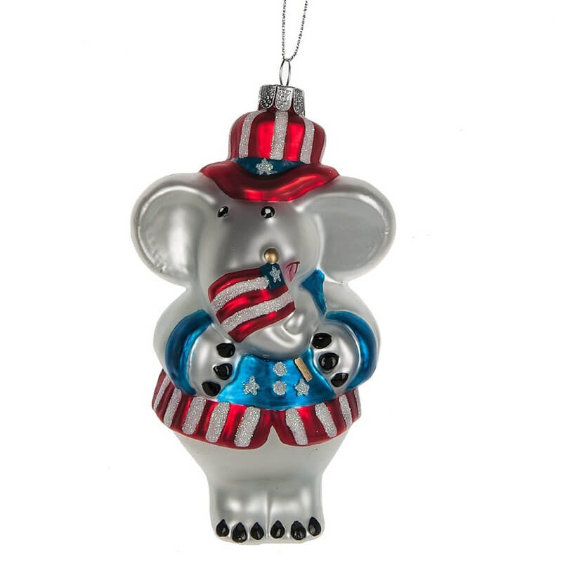 Patriotic Elephant Glass Ornament, CBK7701223