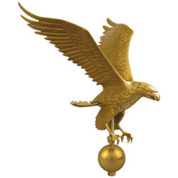 Gold Eagle on ball Flagpole Ornament 12 in x 9-1/4 in aluminum, CEAGL0460