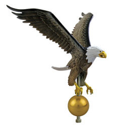 Eagle on ball Flagpole Ornament 12 in x 9-1/4 in Aluminum - Hand Painted, CEAGL0463