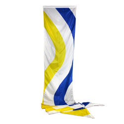 White Yellow Navy Blue Wave Style Wind Dancer Flag, DFLAG28WINDYB