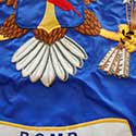 Close up of applique and embroidery on custm flag