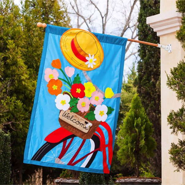 Bicycle Basket Applique House Banner, EE128605BL