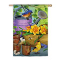 Birds by the Watering Can Banner