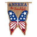 America The Beautiful Burlap House Banner, EE13B3391
