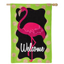 Flamingo Welcome Burlap House Flag, EE13B3727BL