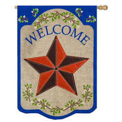 Country Star Welcome Burlap House Flag, EE13B3759