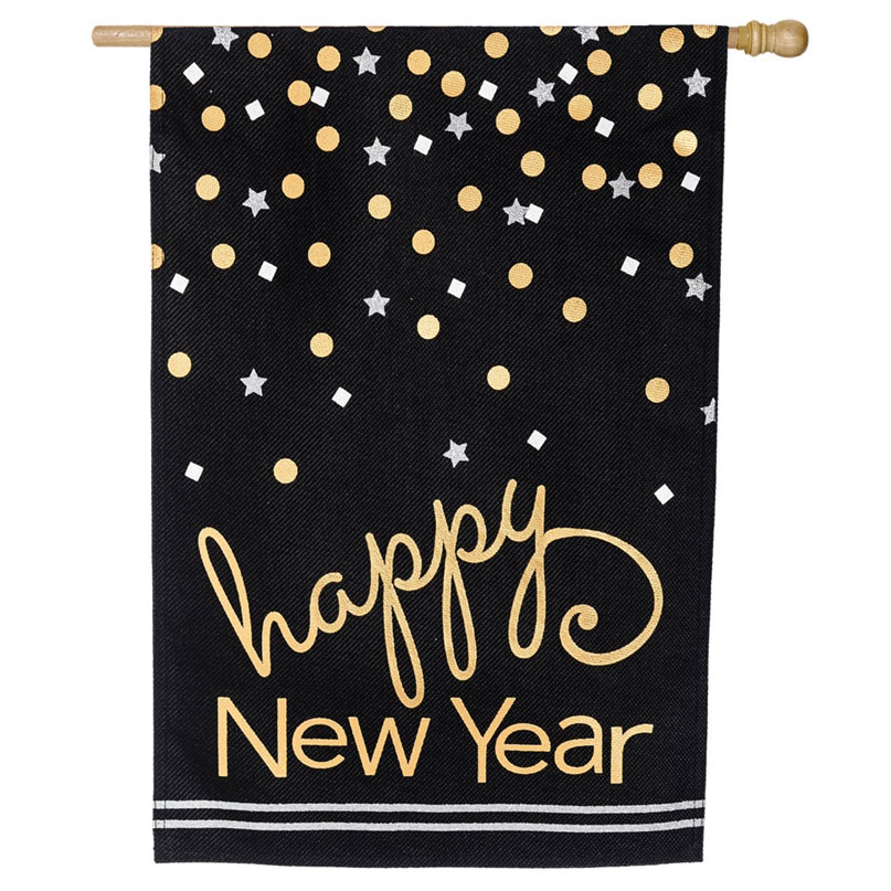 Happy New Year Burlap House Banner, EE13B4006BL