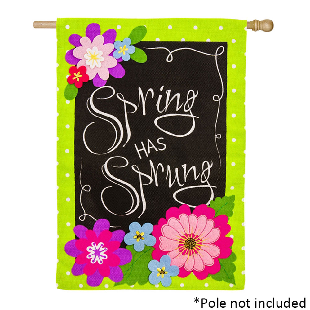 Spring Has Sprung Burlap House Banner 28 In X 44 In