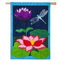 Dragonfly Pond Burlap House Banner, EE13B4178BL