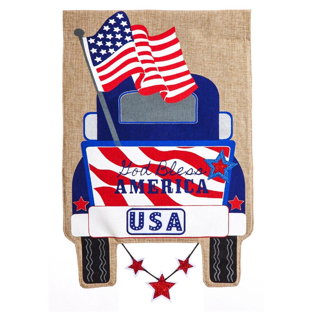 Patriotic Pick Up Truck Burlap House Banner 44 In X 28 In