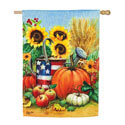 Patriotic Fall Watering Can Textured Suede House Flag, EE13ES9367H