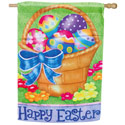 Happy Easter Basket Suede House Banner, EE13S2362