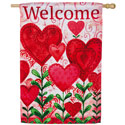 Planted Valentine Welcome Suede House Banner, EE13S3616
