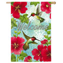 Hummingbird & Hollyhock Suede House Banner, EE13S3628BL