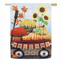 Autumn Red Wagon Suede House Flag, EE13S8734H