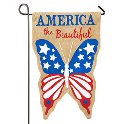 America The Beautiful Butterfly Burlap Garden Banner, EE14B3391G