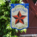 Country Star Welcome Burlap Garden Flag, EE14B3759G