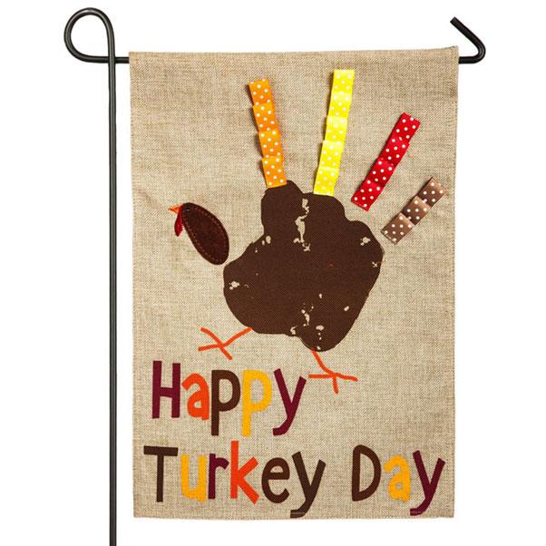 Happy Turkey Day Burlap Garden Banner 12 1 2 In X 18 In