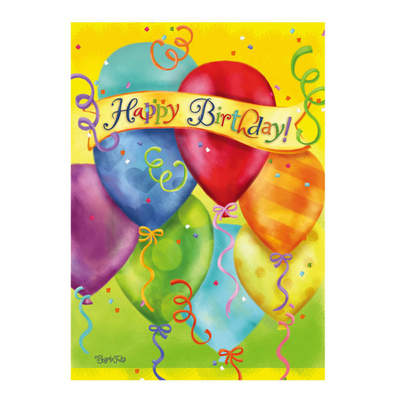 Happy Birthday Balloons Greeting Card And Garden Banner
