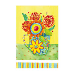 Floral Blank Greeting Card and Garden Banner, EE14GC2539