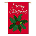 Merry Christmas Poinsettia House Banner