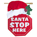 Santa Stop Here Fiber Optic Banner