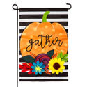 Striped Gather Pumpkin Applique Garden Flag, EE169083G