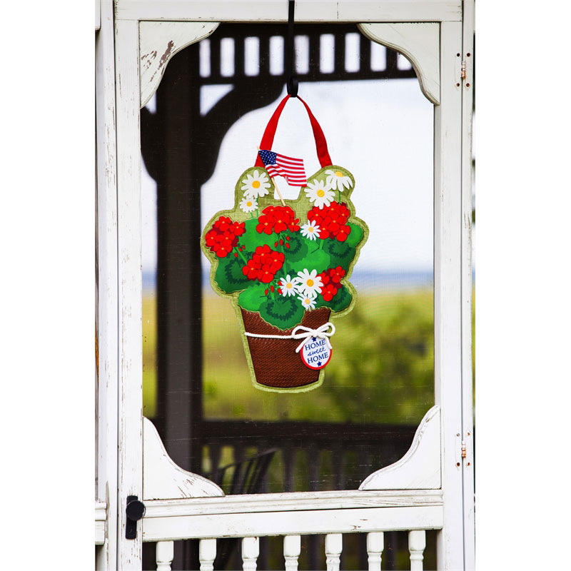 Basket of Flowers Burlap Door Hanger, EE2DHB1144