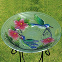 Hummingbird Couple Glass Bird Bath, EE2GB034