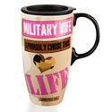 Military Wife Ceramic Latte Travel Cup withGift Box, EE3LTM4699B