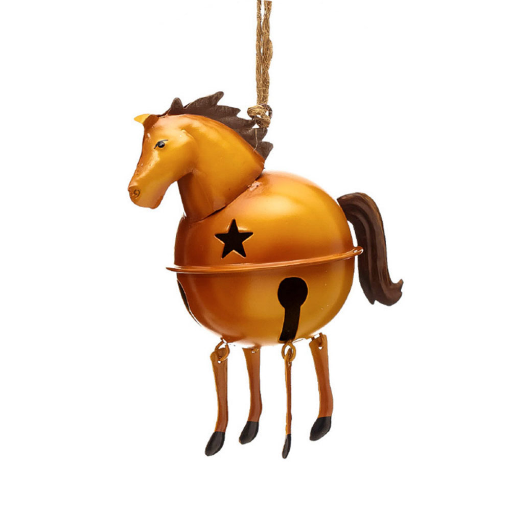 Gold horse jingle bell ornament