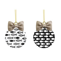 Black and White Cats Fish Ornament Set, EE3OTG167