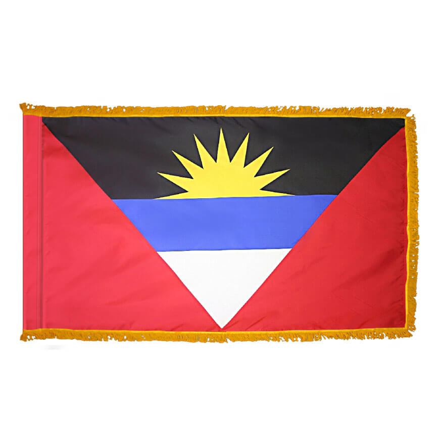 Antigua & Barbuda Fringed Flag with Pole Hem, FBPP0000009515