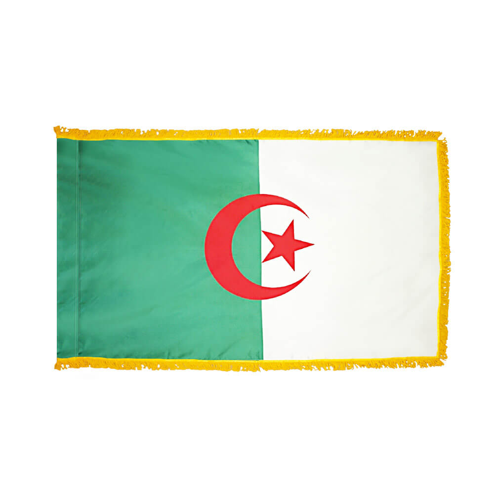 Algeria Fringed Flag with Pole Hem, FBPP0000009458