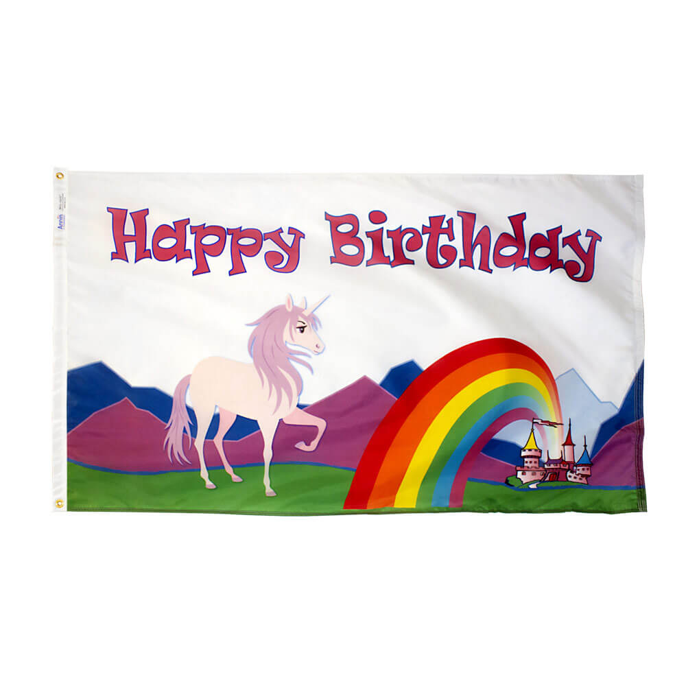 Happy Birthday Unicorn Flag 3x5 Nylon