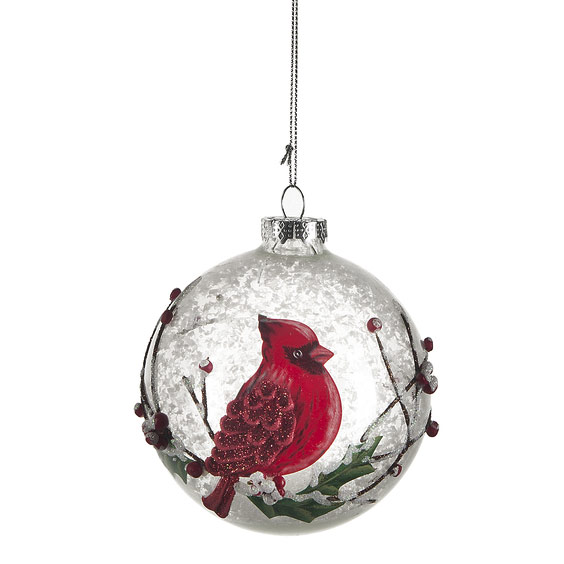 Cardinal Glass Ornaments (Round